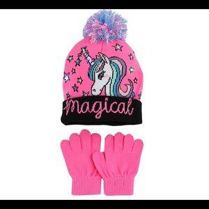 Capelli Pink Light Up Unicorn Hat & Gloves Set NWT